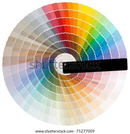 Colorful circle swatch with facade colors isolated with clipping path