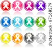 Colorful collection of awareness button ribbons. - stock photo