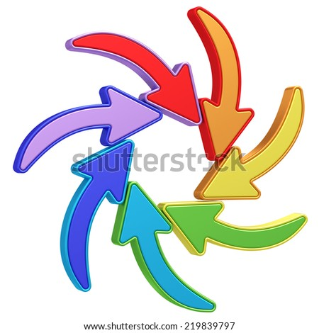 Colorful curved arrows pointing to center on white background. High resolution 3D image