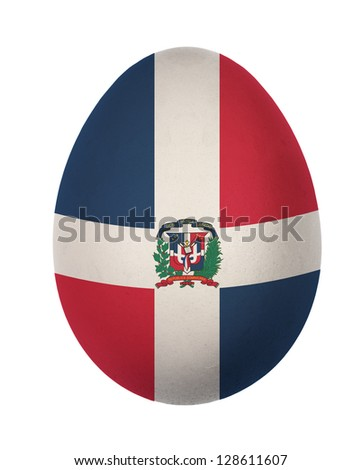 Colorful Dominican  flag Easter egg isolated on white background