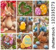 Colorful easter collage with cookies - stock photo