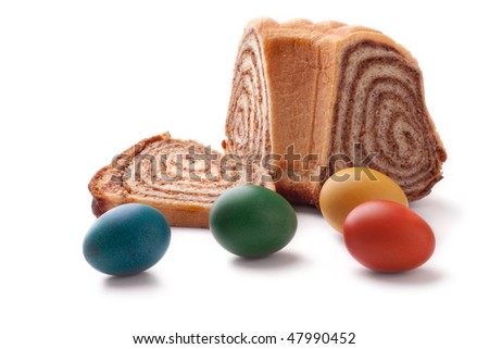 Colorful Easter Eggs with a slovene cake potica