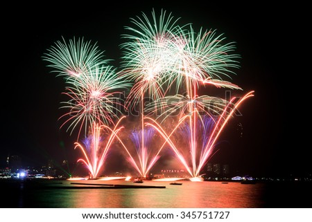 Colorful fireworks over the sea on the Pattaya beach