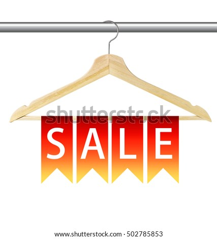 Colorful flags hanging on wooden hanger isolated on white