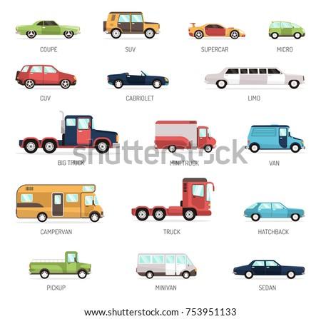 assortment various types cartoon cars trucks stock vector 131159237 shutterstock. Black Bedroom Furniture Sets. Home Design Ideas