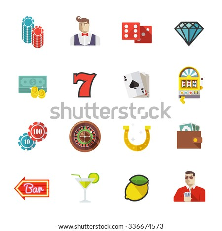 Colorful flat icons set. Quality design illustrations, elements and concept. Gambling icons, casino icons, money icons, poker icons. Set #1.