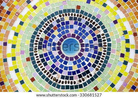 Colorful Floor decoration with Mosaic and ceramic tiles