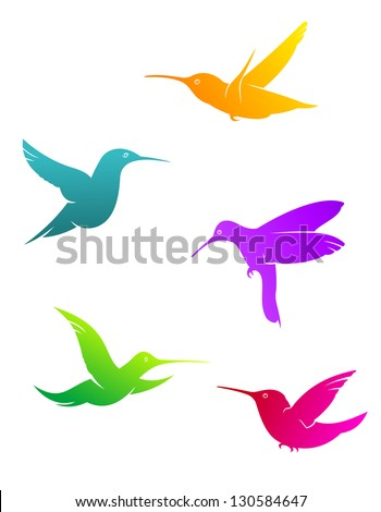 Colorful flying hummingbirds set isolated on white background or logo template. Vector version also available in gallery