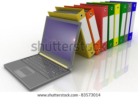 Colorful folders next to a modern laptop