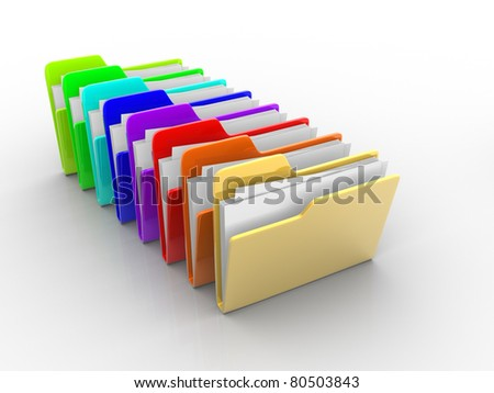 Colorful folders with paper. 3d render illustration