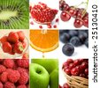 colorful fruit collage of nine photos - stock photo