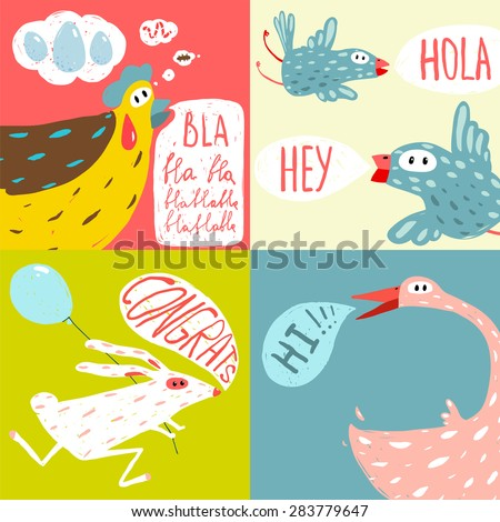 Stock Vector Cute Whale With Bird Striped Background Vector Illustrati...