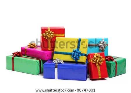 Gift boxes christmas ballsisolated on white 115992274 colorful gift boxes isolated on white background negle Images