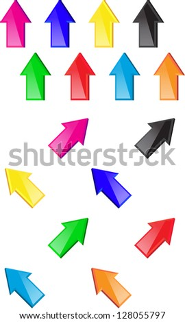 Colorful glossy arrows. Web elements