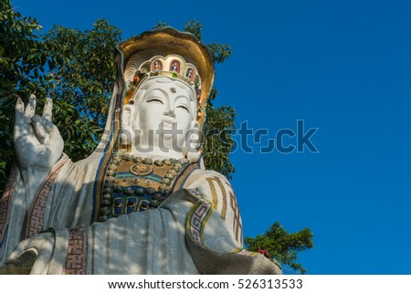 Colorful God statues are located at the Repulse Bay is a quaint Taoist temple which is popular for its colorful mosaic statues