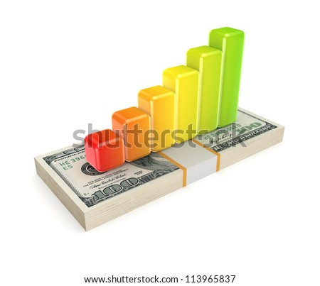 Colorful graph on dollar pack.Isolated on white background.3d rendered.