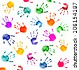 colorful  hand prints isolated over white background - stock photo