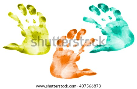 colorful hand prints kid set isolated on white background for art education top view