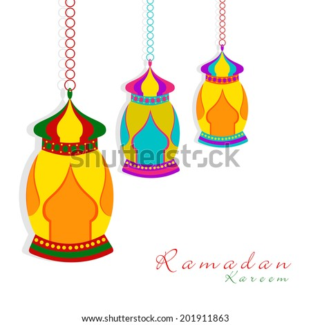 Colorful hanging lanterns on white background for the holy month of Muslim community Ramadan Kareem.