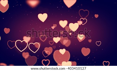 Colorful hearts shape and wire symbols flying on dark red background