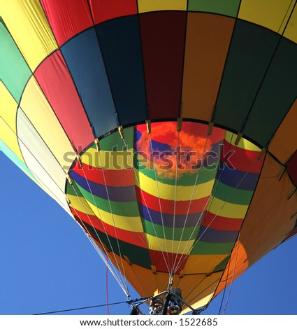 Colorful Hot Air Balloon Closeup with Fire