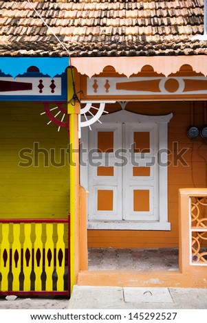 colorful house fronts in Isla Mujeres, Mexico