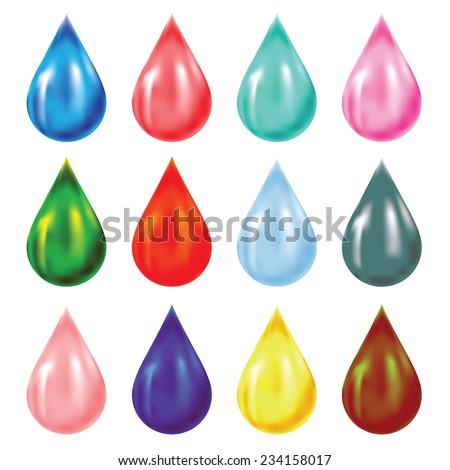 colorful illustration with set of drops on white background