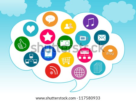 Colorful image for the web of social media icons in the cloud