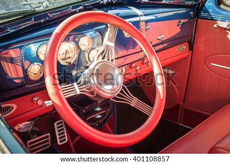 colorful interior detail of a 1950s restoration automobile