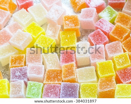 Colorful jelly candy look delicious and sweet children like it.