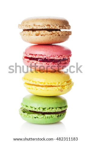 Colorful macaroons stack. Sweet macarons. Isolated on white background