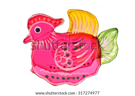 Colorful Mandarin Duck Lantern On White Background