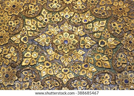 colorful mosaic pattern of Thai style at Wat Pho, Thailand