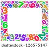 Colorful numbers frame - stock vector