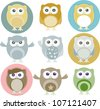colorful owls with nine color combinations. Raster - stock vector