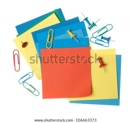 Colorful paper notes with clips