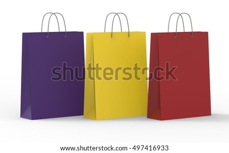 Colorful paper shopping bag, on white background. 3d illustration