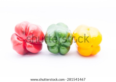 Colorful paprika on a white background.