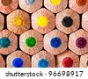 Colorful pencils wall background - stock photo