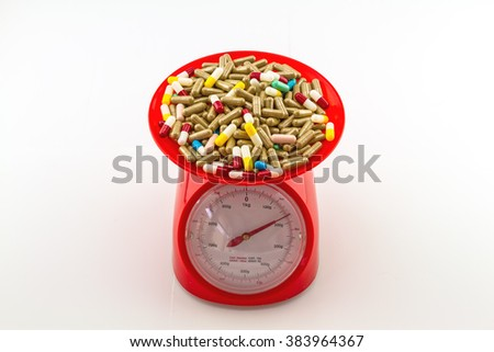 Colorful pills in red weight scale on  white background
