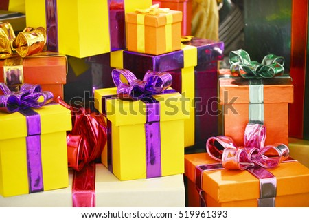 Colorful presents gift Boxes,New Year Celebration background