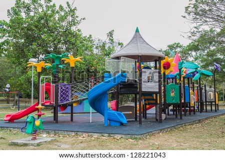 Colorful public playground in the park at phuket