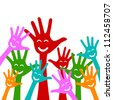 Colorful Raised Hands With Smile Isolate on White Background For Volunteer and Voting Concept - stock photo