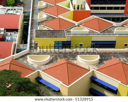 colorful roofs on housing blocks in Singapore