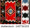 Colorful Serbian peruvian style rug surface handmade carpet, traditional carpet designs - stock photo
