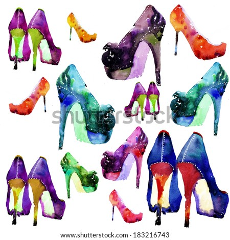 Colorful shoes background