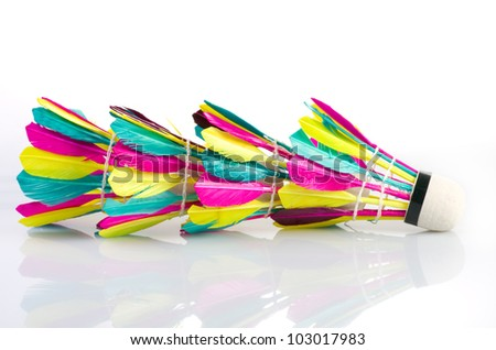 Colorful shuttlecock  on white background