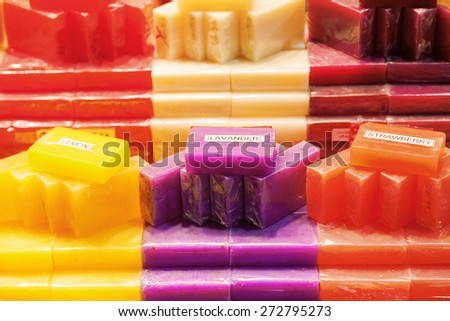 colorful soap at the display of a shop