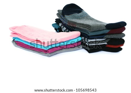 Colorful socks isolated on white background.