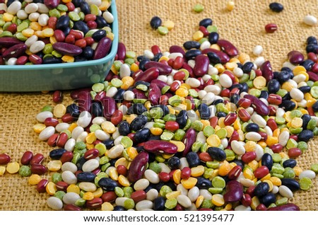 Colorful Soup Beans Cleaned and Ready to be Cooked